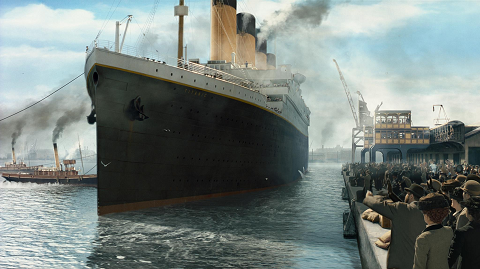 Titanic leaving on its maiden, and final, voyage.