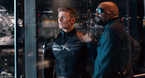 "Captain America (Chris Evans) and Nick Fury (Samuel L. Jackson) battling conspiracies aplenty in ""Captain America: The Winter Soldier""."