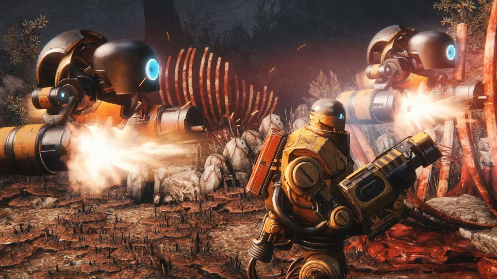Each class and character have their own tools; in this case, Bucket has deployable turrets at its disposal.