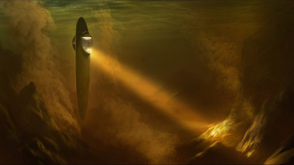 """The """"Ship of the Imagination"""" visits Titan, one of Saturn's moons."""