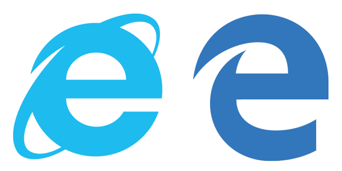 Old versus new; the Internet Explorer and Edge logos.