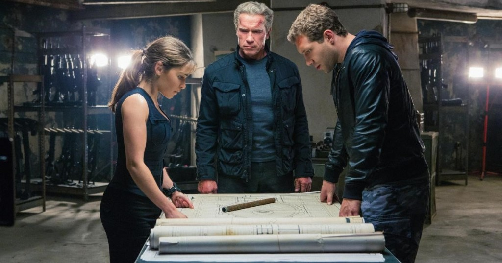"Sarah Connor (Emilia Clarke), ""Pops"" (Arnold Schwarzenegger) and Kyle Reese (Jai Courtney) plan their attack."