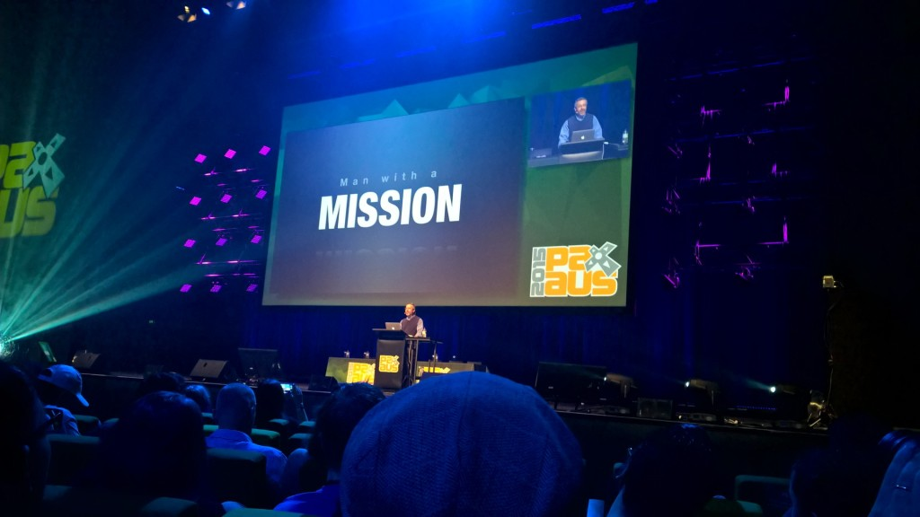 Warren Spector on stage - he had a mission...