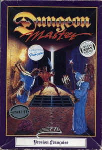 The box art for Dungeon Master famously shows four of the game's champions about to meet an untimely fate.