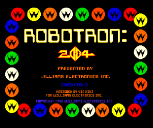 Robotron 2084's title screen... the slowest section in the game.