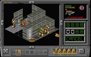Space Crusade's battle screen on the Atari ST.