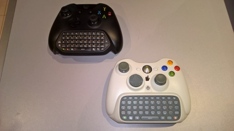 Squaring off... the Xbox One and 360 chatpads.