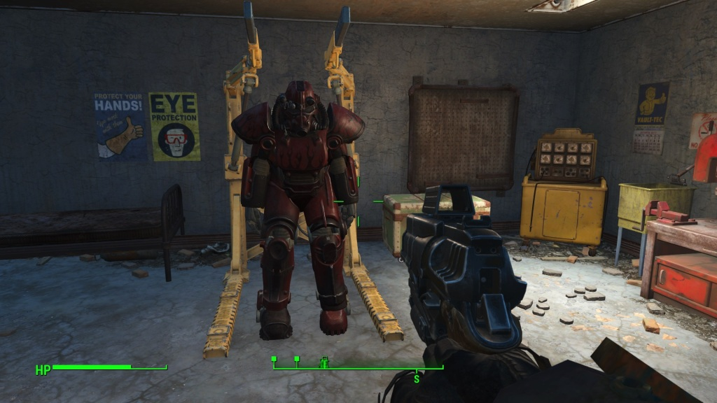 "You can even paint your new Power Armour. In this case I chose red because it ""goes faster""... funnily enough it does give you an agility bonus."