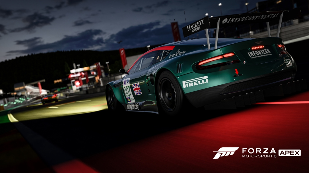 Racing at night in Forza Motorsport 6: Apex - Click to see in 4K.