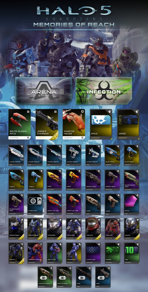 Got to love the goodies in this set - not only the Halo: Reach items but the other weapon skins will bring some smiles too.