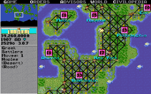 The original game in all its low pixel, low colour glory. Despite that, the familiar details of city size and roads/tracks were present from the very beginning.