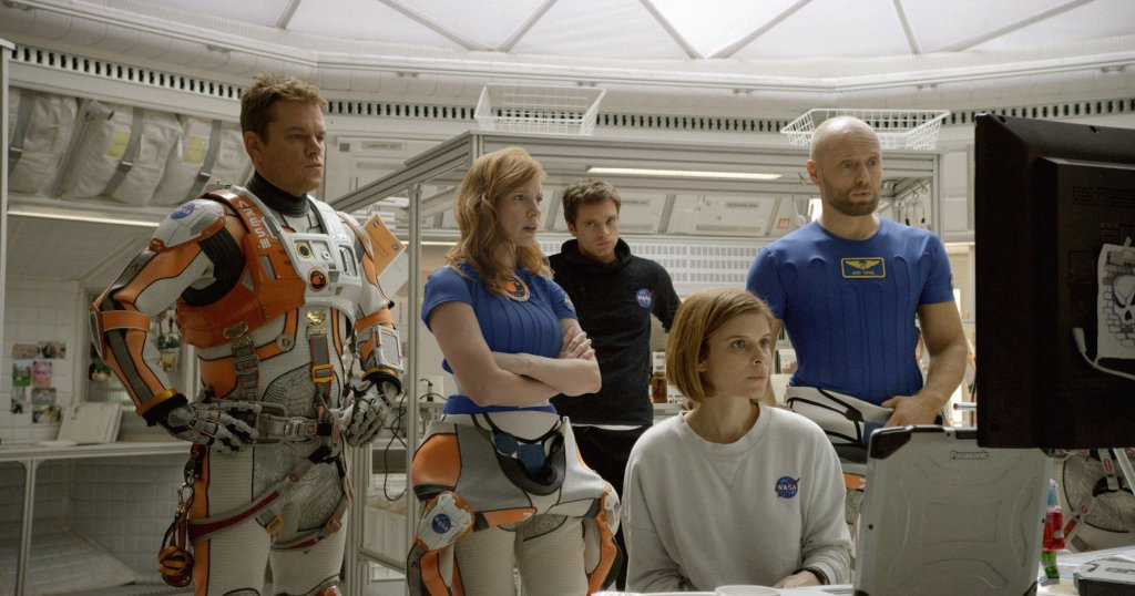 The crew of the Ares III. From left to right - Matt Damon (as Mark Watney), Jessica Chastain (Melissa Lewis), Sebastian Stan (Chris Beck), Kate Mara (Beth Johansson) and Aksel Hennie (Alex Vogel).