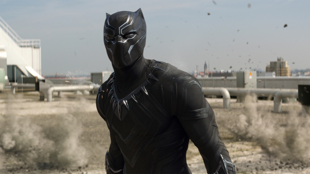 Black Panther (Chadwick Boseman) certainly holds his own against the established characters in the film.