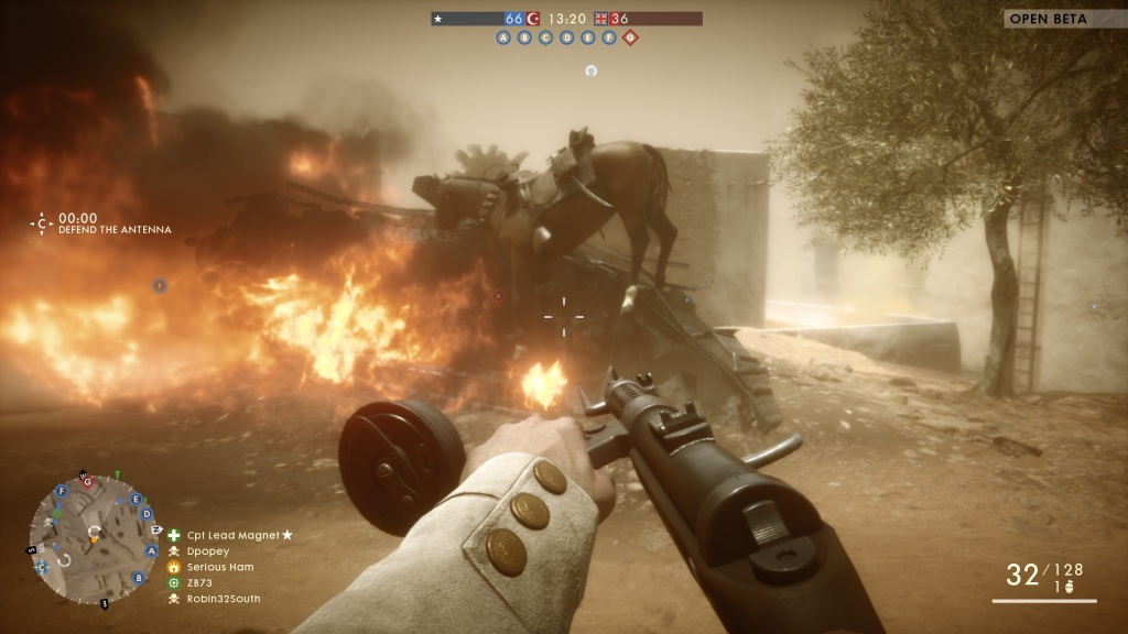 Horses abound in the game, but the last place I'd expect to see one is standing on an exploded tank... feeling toasty?