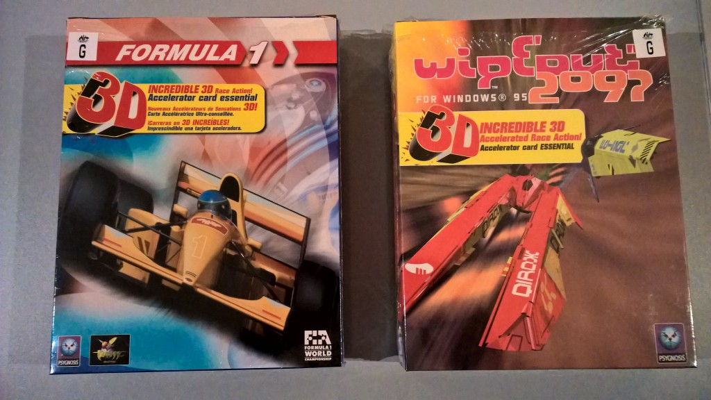 PC game boxes for Fomula 1 (1996) and Wipeout 2097 (1997).