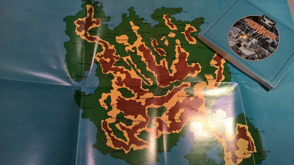 Midwinter came with a chunky manual and a huge map of the island to help you on your way to victory.