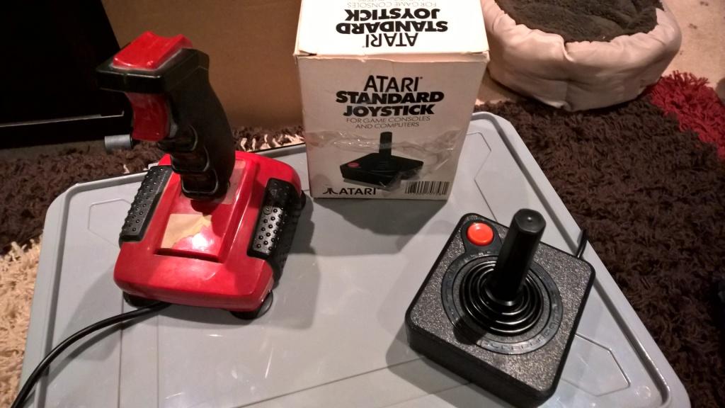 A couple of joysticks including the standard Atari model and the legendary Quickshot II Turbo.