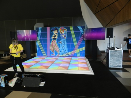 The Just Dance stand before the morning hijinks were commencing.