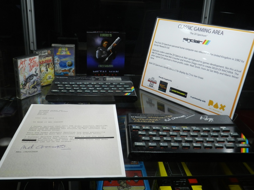 ZX Spectrums signed by developers in luding Matt Smith and Mel Croucher.