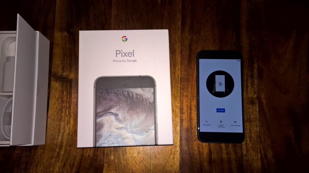 The Google Pixel XL - fresh out of the box and setting up.