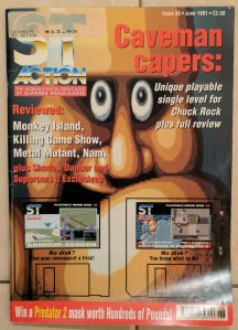 Art from the games was often used on the covers to showoff games in all their pixelated glory. In this case it was Chuck Rock.