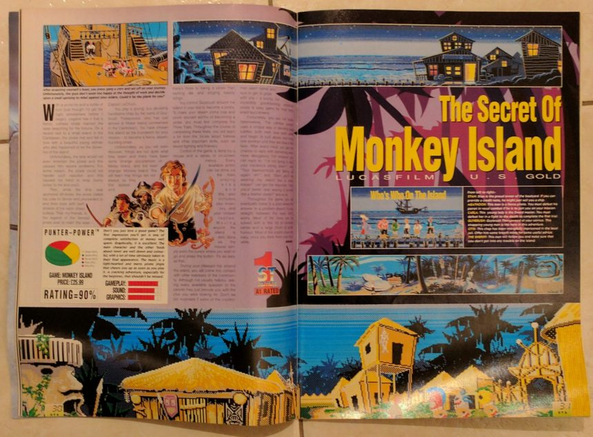 ST Action's review of The Secret of Monkey Island was not afraid to use the excellent environment art from the game.