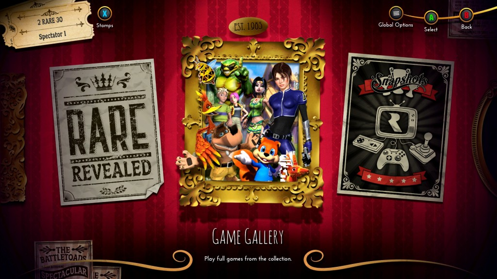 The games take center place in Rare Replay's main menu, but the rest of the content is just a short step away, if you've unlocked it.