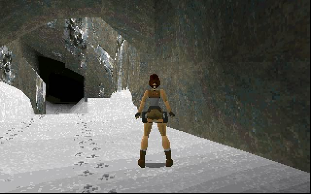Much of you time is spent following Lara through caves and temples. PC VGA version.