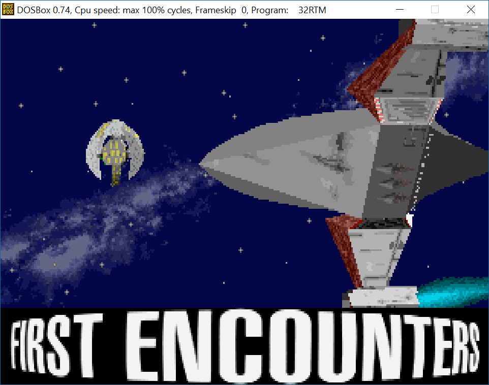 Frontier: First Encounters intro sequence in its purest form, via DOSBox.