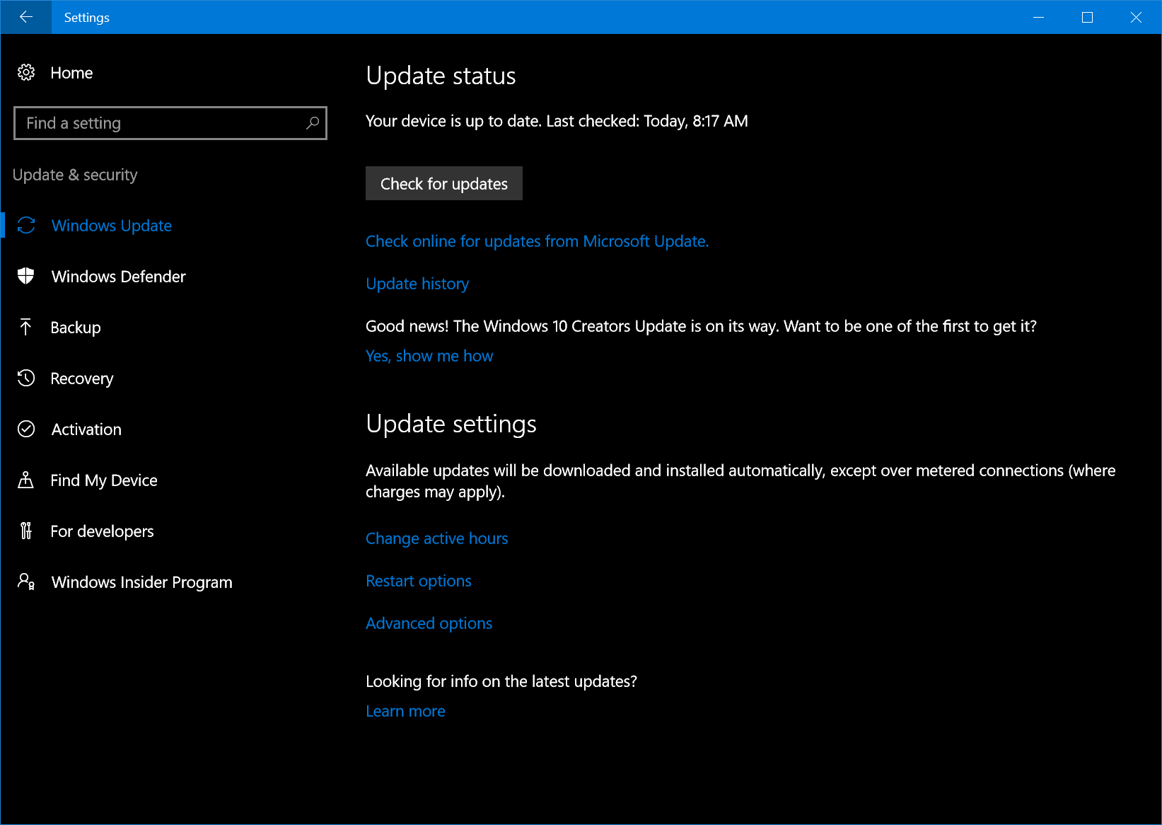 Screenshot of the Windows Update screen experience.