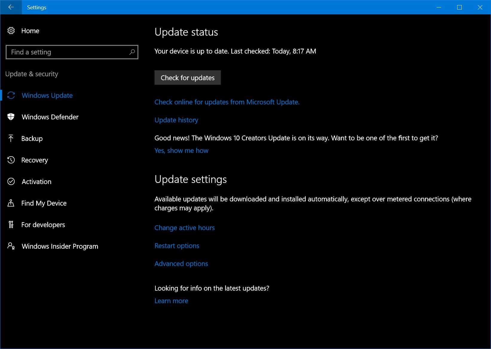 Screenshot of the Windows Update screen experience.
